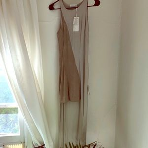 Suede detailed high-low dress